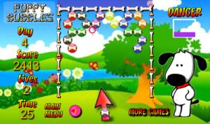 Puppy Bubbles: verwijder alle bubbels van het speelveld en kom in een volgend level terecht